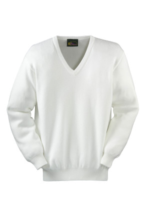 V-Neck Pullover in 50% Cotton-50% Acrylic