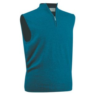 Gents Merino zip-neck slipover