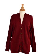 WAEP Edinburgh cardigan with gold buttons front in wine