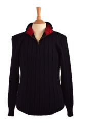 Struan in Navy with Red Funnel neck inner