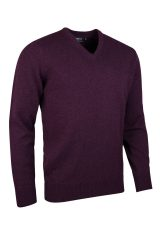 Lambswool V neck in blackgrape