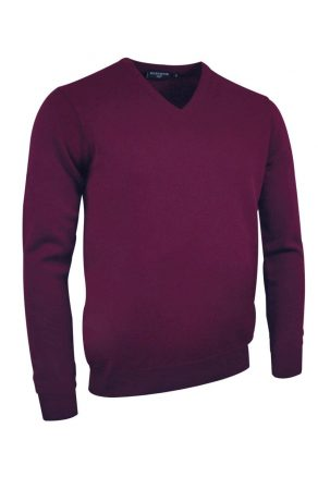 Lambswool V neck in bordeaux