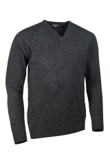 Lambswool V neck in charcoal