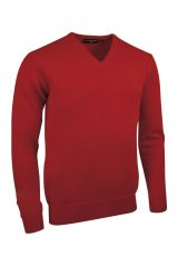 Lambswool V neck in garnet