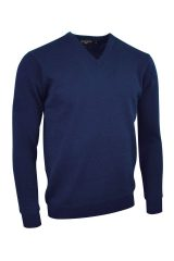 Lambswool V neck in navy