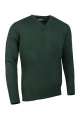 Lambswool V neck in tartangreen