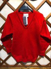 Red V neck Raglan Sleeve
