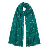 sheep-print-scarf spruce green