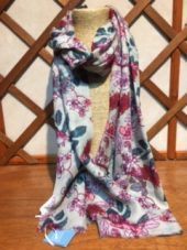 Tulchan Large Winter Blossom Scarf in Natural Sepia